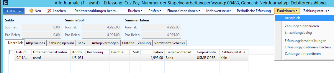 Zahlungen | Dynamics 365FO/AX Finance & Controlling
