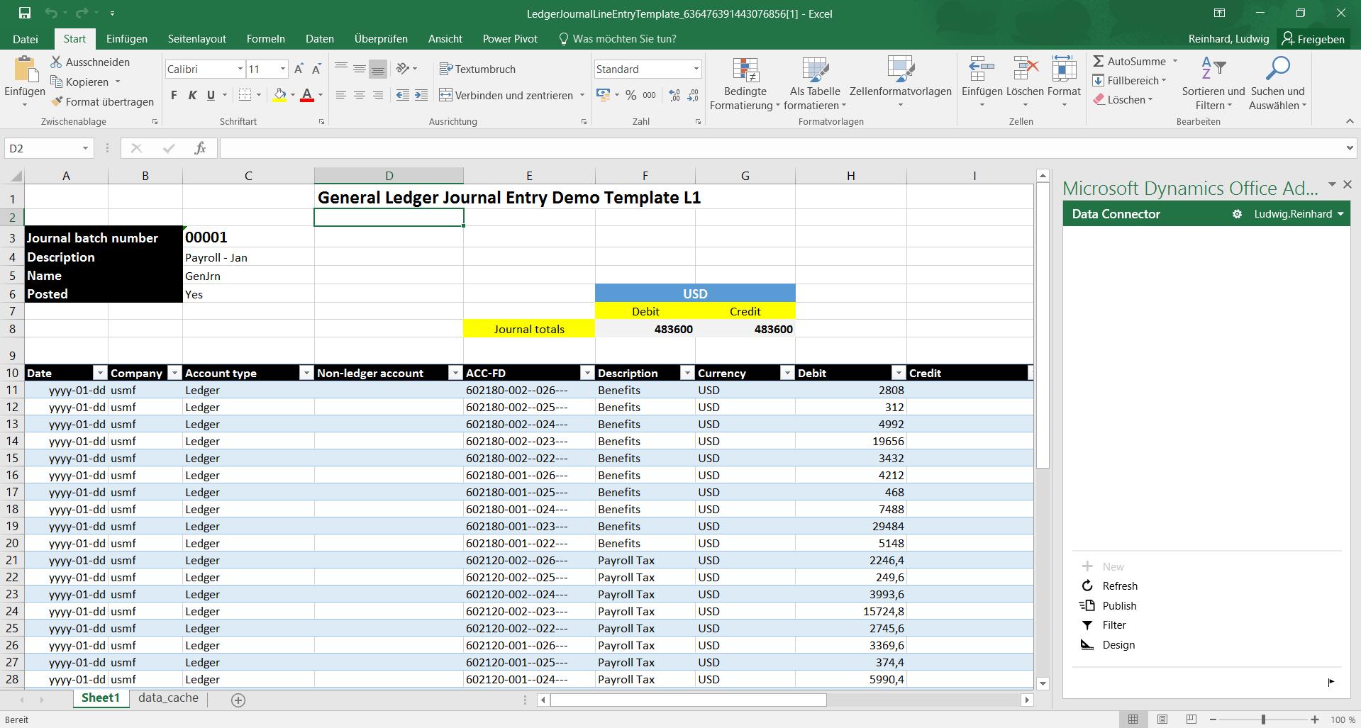 Vorlage Import | Dynamics 365FO/AX Finance & Controlling